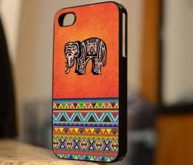 Hot Elephant and Aztec Design - iPhone 4 Case, iPhone 4s Case and iPhone 5 case Hard Plastic Case